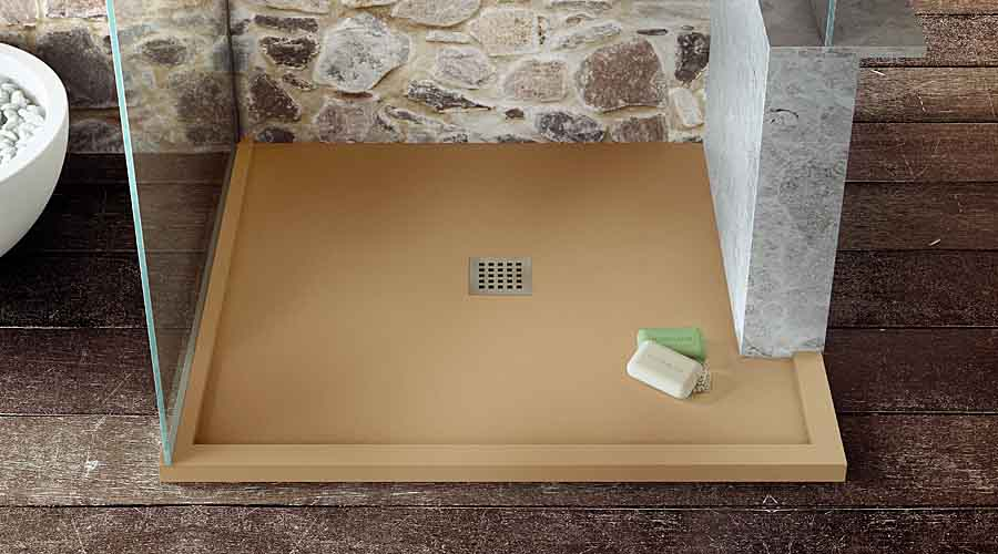 Bespoke Fiora Beige Shower Tray With Central Flush Waste
