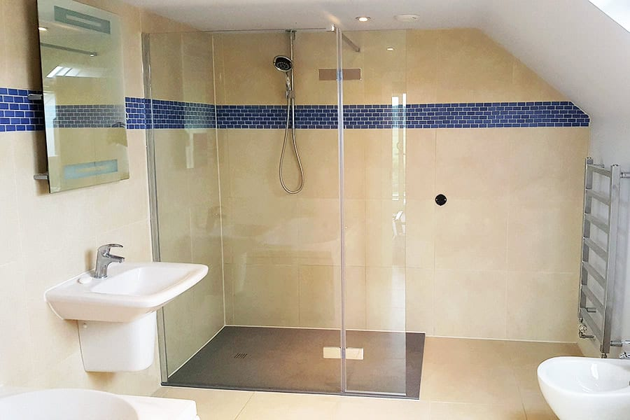 Leaking shower solved with new flat shower tray and tiling