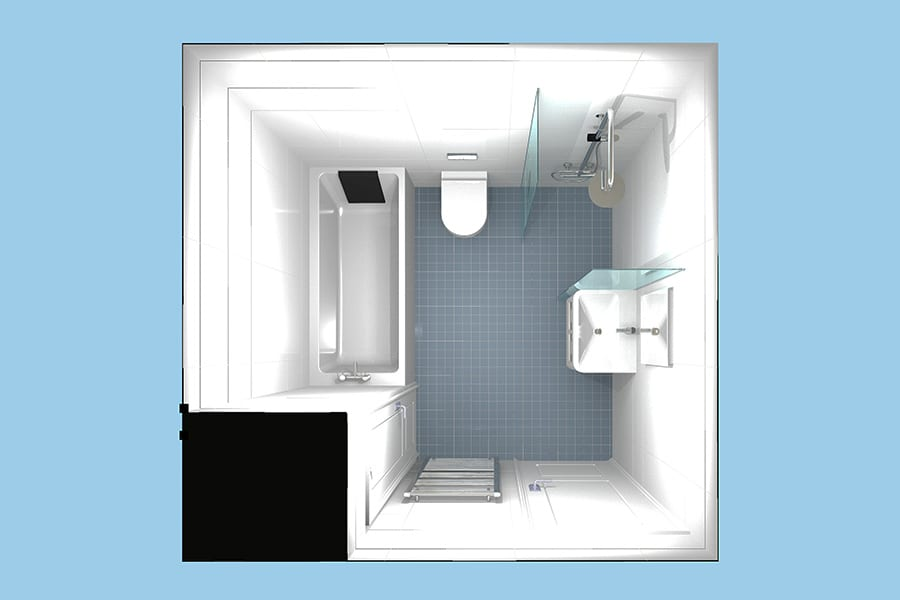 Disabled bathroom plans created by Room H2o using Virtual Worlds bathroom planning software for a client in Dorset