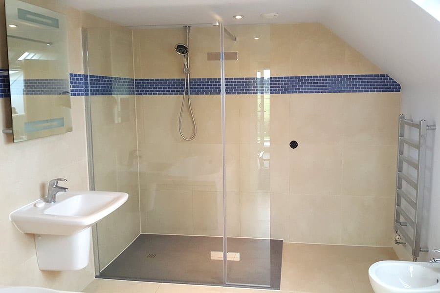 This level access walk-in shower was created by Room H2o for a customer in Wareham Dorset