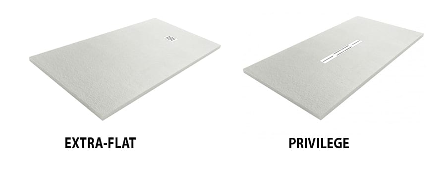 Extra-flat and Privilege styles of bespoke shower tray offered by Room H2o