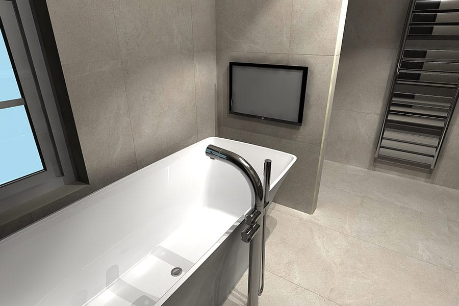 Master bathroom designed with Virtual Worlds by Room H2o