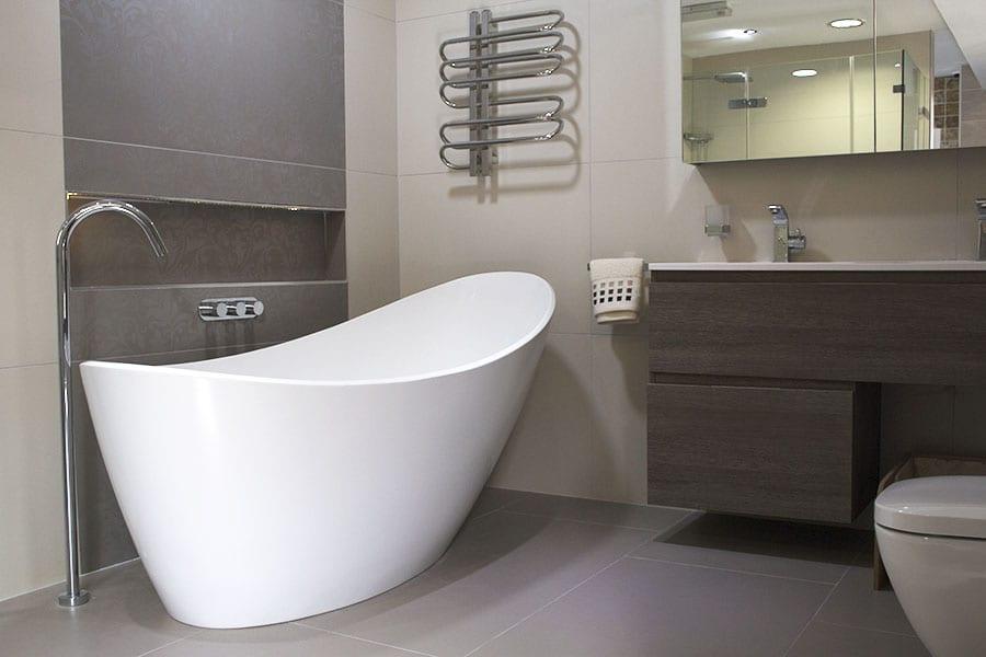 Designer bathroom tile and furniture displays at Room H2o in Wareham Dorset