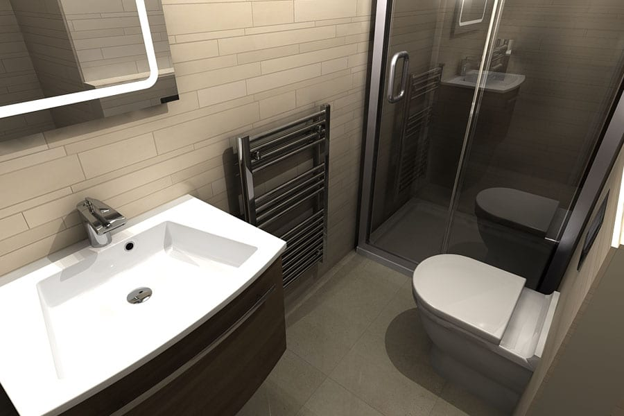 A space efficient small bathroom designed using virtual worlds bathroom design software