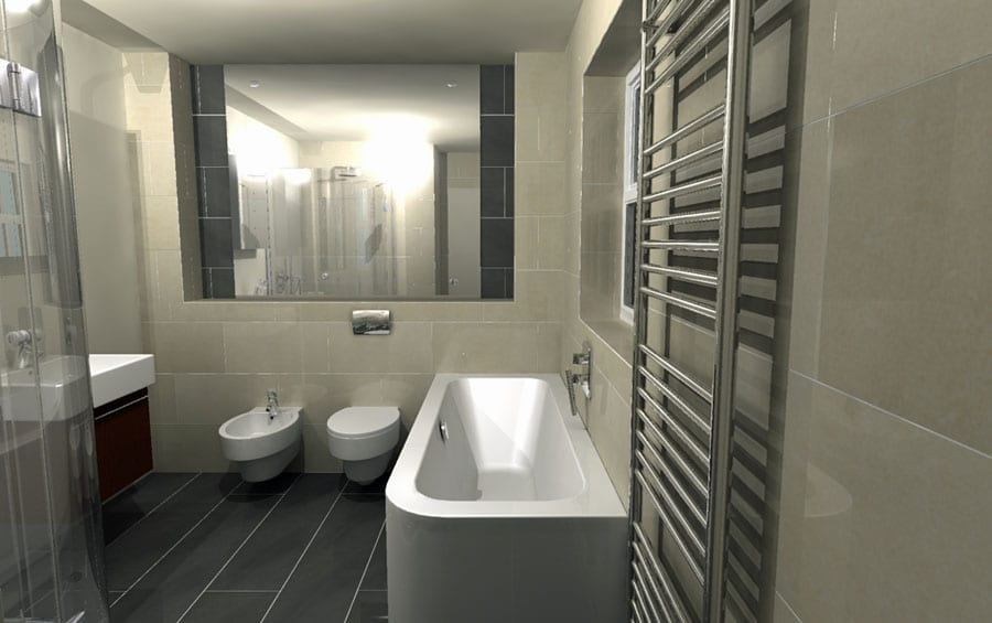This luxury bathroom was designed by Room H2o for a client in Bournemouth using Virtual Worlds