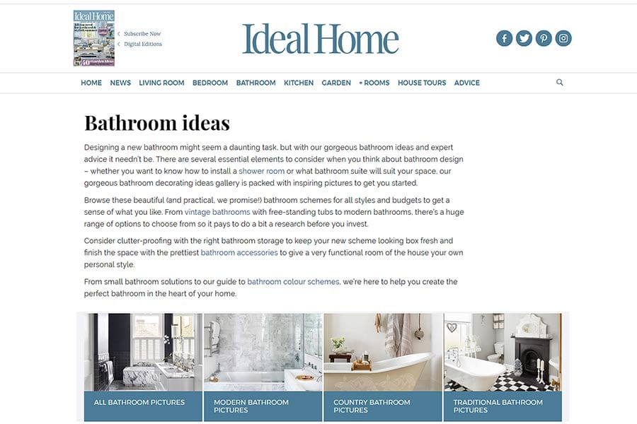 The Ideal Home Website Is A Great Source For Bespoke Bathroom Design Ideas