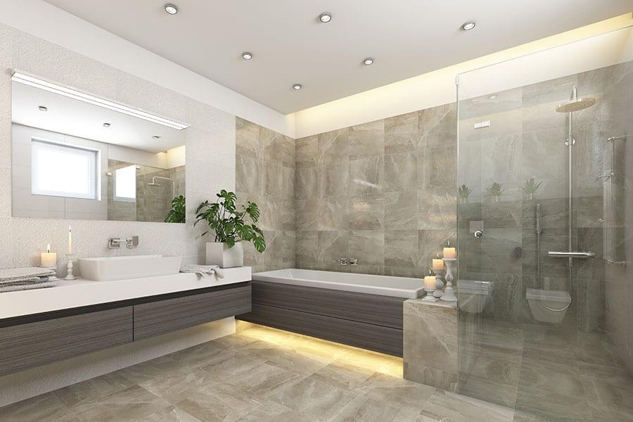 Seamless floor to wall porcelain bathroom tiles