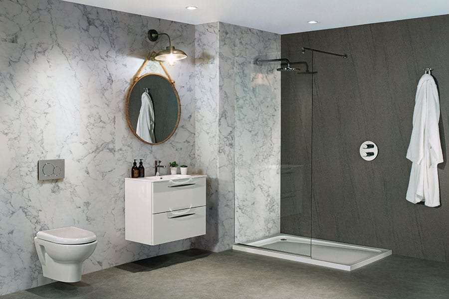 Luxury shower room featuring Nuance Turin marble effect wet wall panels