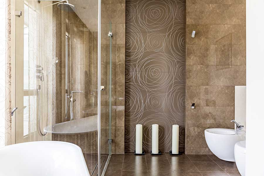 Chocolate brown feature wall in modern bathroom