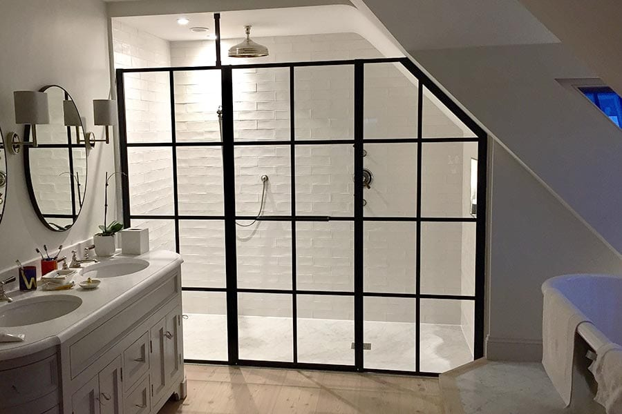 Inline black grid shower enclosure by Drench