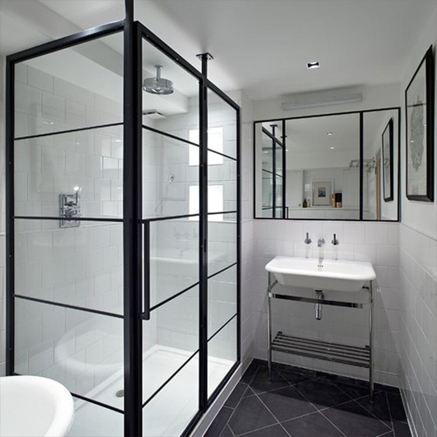 Black Art Deco Framed Shower Enclosure With Pivot Door By Drench