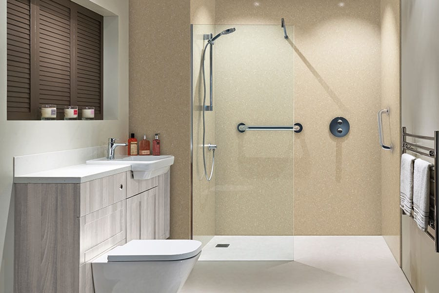 This luxury walk-in shower provides easy access for disabled or elderly people