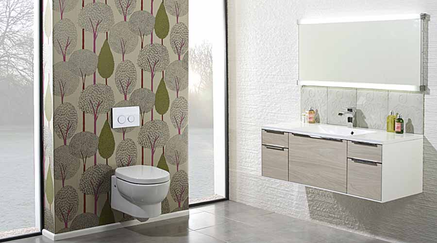 Designer Hero wall hung toilet and wide vanity unit by Roper Rhodes