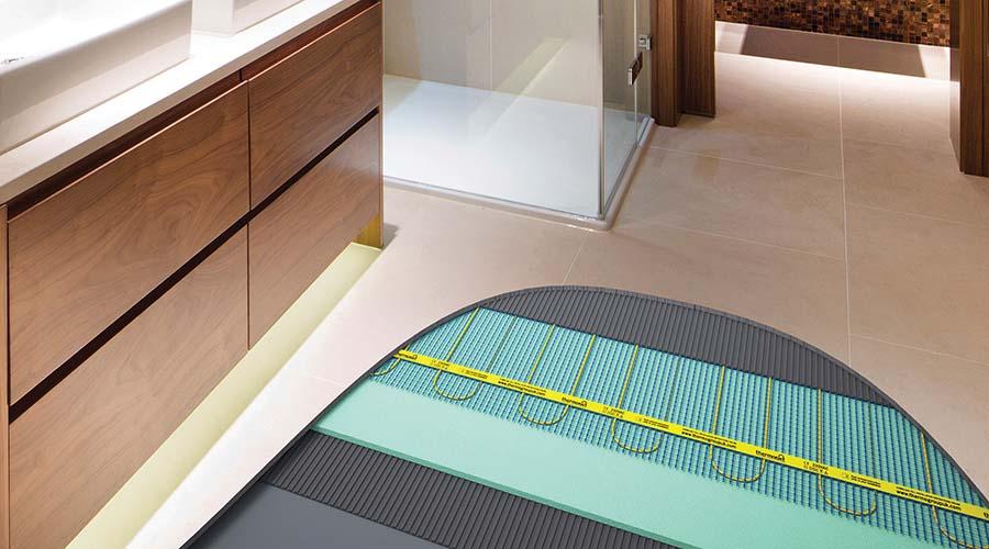 Cutaway Bathroom Floor Showing Thermonet Electric Underfloor Heating System