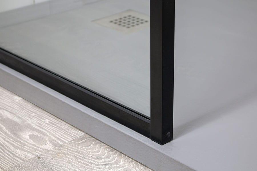 Black semi-frameless shower screen by Room H2o