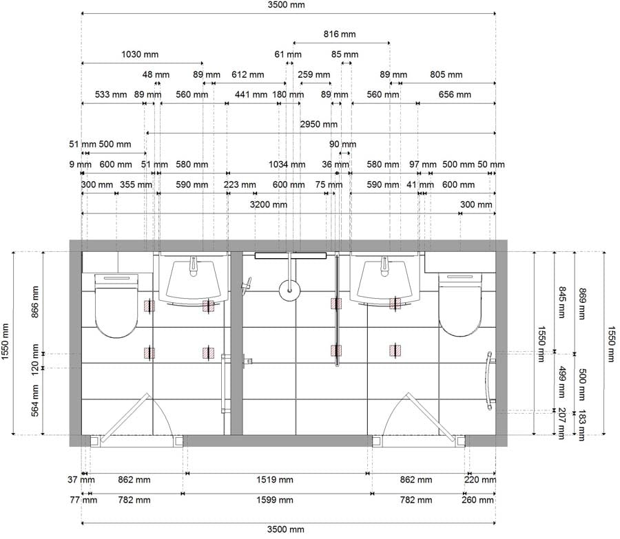 Plans and drawings for a bathroom and shower room created by Room H2o