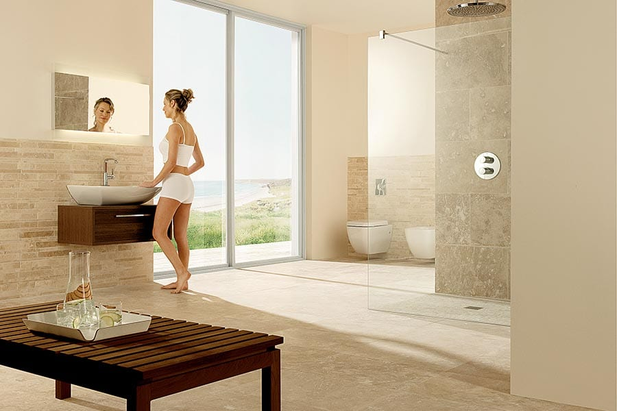 Stylish and modern bathroom with Impey wet shower room floor and non-slip floor tiles