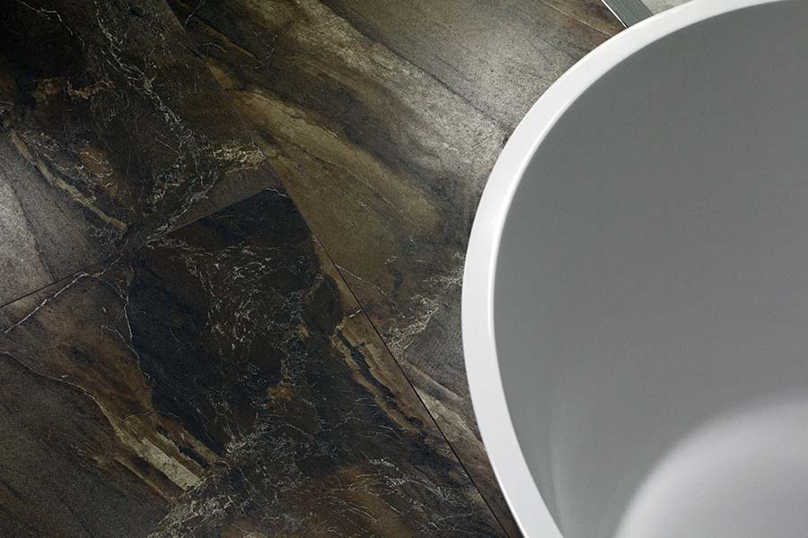 Stone effect large porcelain non-slip tiles by Porcel-Thin in Tobacco colour
