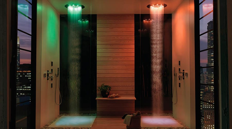 Bossini Twin coloured led shower heads in a large luxury wetroom
