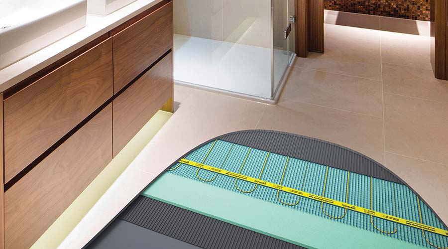 Thermonet Electric Underfloor Heating Bathroom Floor installation cut away image