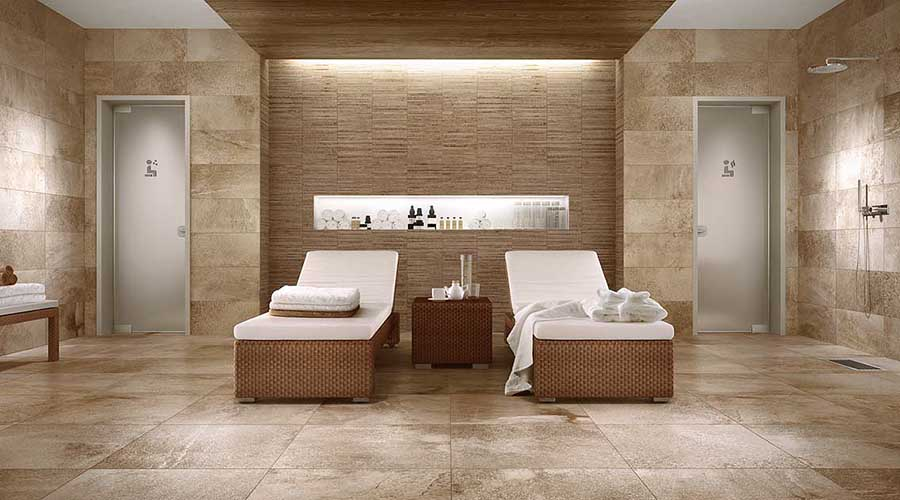 Luxury spa featuring Marazzi Stoneway Beige porcelain wall and floor tiles