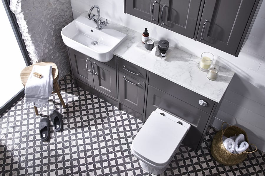 Roper Rhodes Burford grey shaker style fitted bathroom furniture with basin and toilet