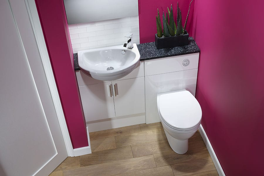 Roper Rhodes Muse glass white fitted bathroom furniture with semi recessed basin