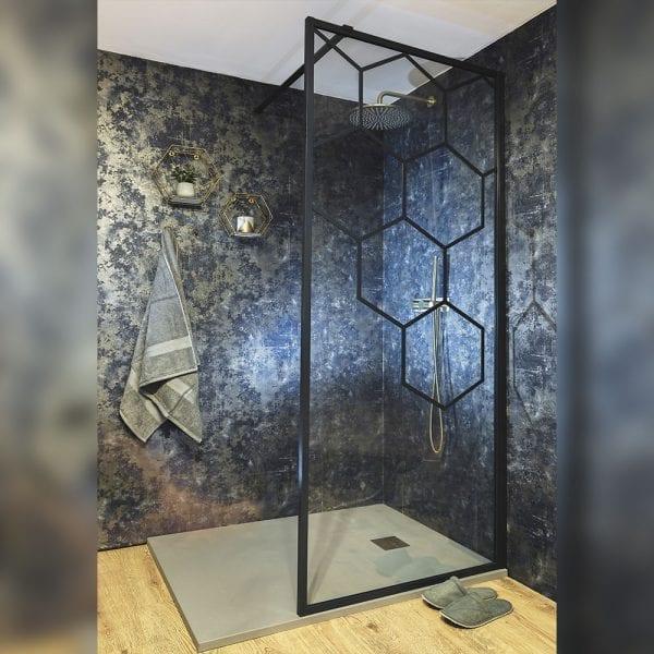 Drench Matte Hexagon matt black shower screen