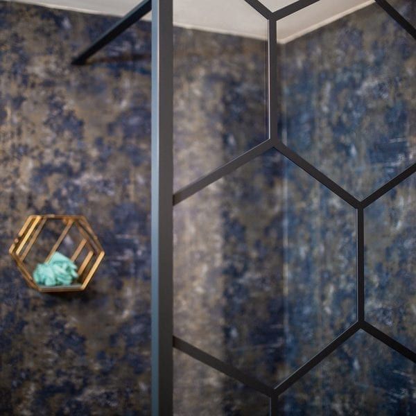 Drench Matte Hexagon shower screen in black