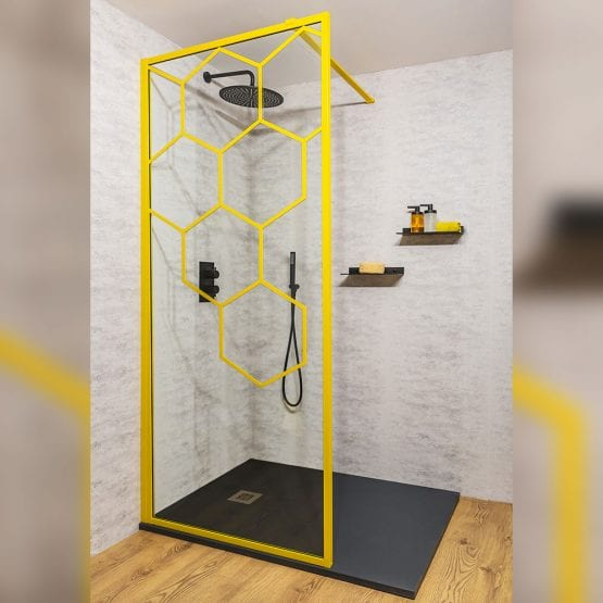 Drench Matte Hexagon yellow grid walk-in shower screen