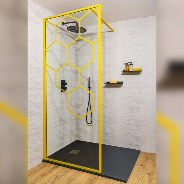 Drench Matte Hexagon yellow grid walk-in shower screen