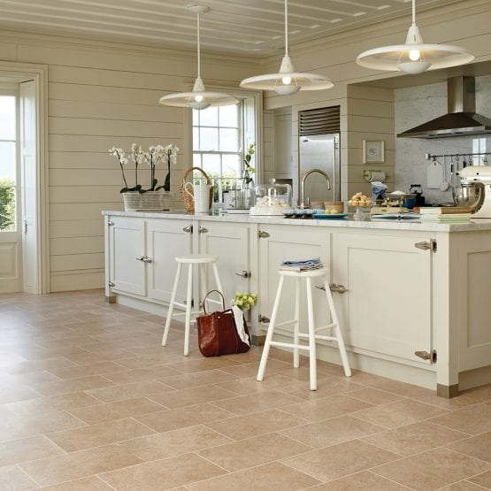 Country kitchne with French style Karndean Knight Tile Bath Stone vinyl flooring