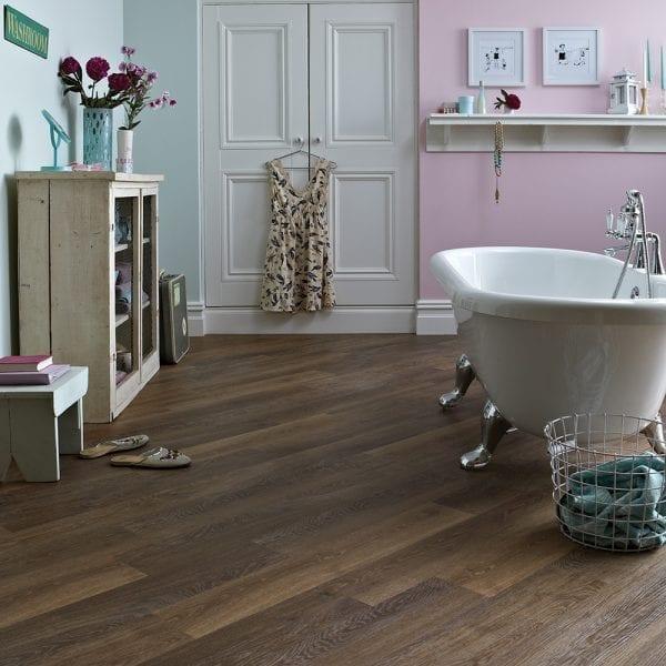 Karndean Knight Tile pale mid limed oak effect vinyl plank flooring in a period bathroom