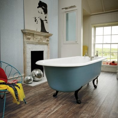 Luxury period bathroom with Karndean Knight Tile Mid Worn Oak plank vinyl flooring