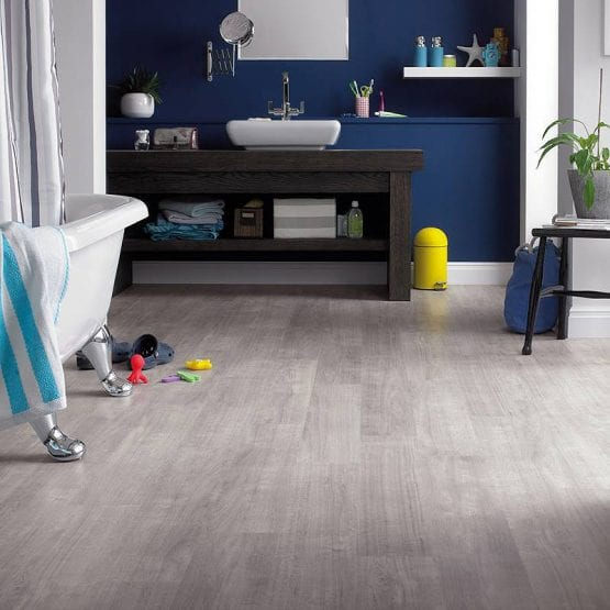 Karndean Opus Grano light grey wood effect vinyl flooring in a bathroom