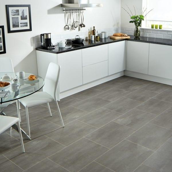 karndean opus urbus travertine effect vinyl floor tiles in a kitchen