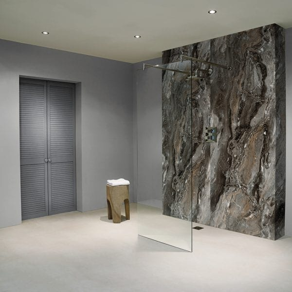 BB Nuance Grey Paladina marble effect wet wall boards in a shower