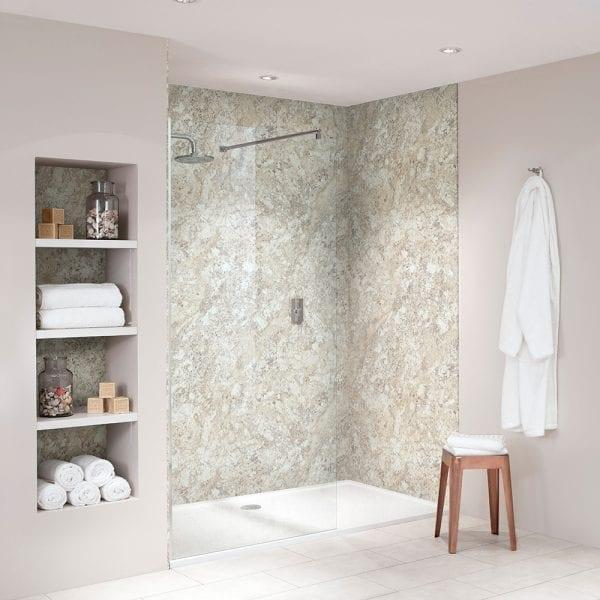 BB Nuance Soft Mazzarino stone effect bathroom wall boards in a luxury walk-in shower
