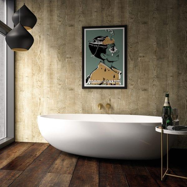 Luxury bathroom featuring BB Nuance mushroom wildwood effect bathroom wall cladding with a wood grain finish