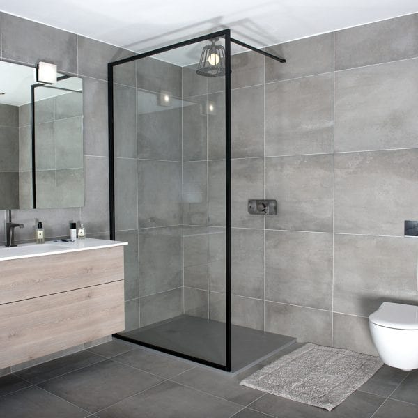 A black slim framed BORDER shower screen by Drench