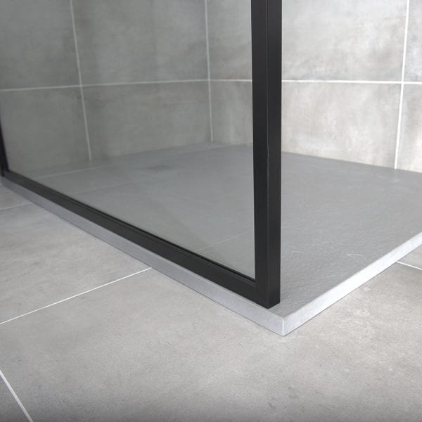 Drench BORDER coloured shower screen mounted on a grey extra flat Fiora shower tray