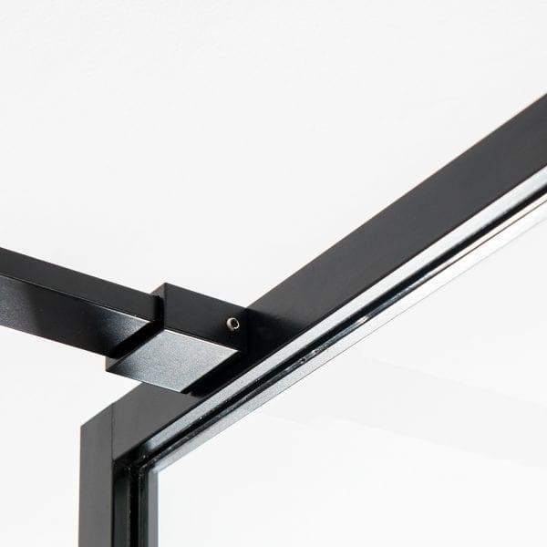 Bracing bar detail for a Drench BORDER slim framed coloured shower screen