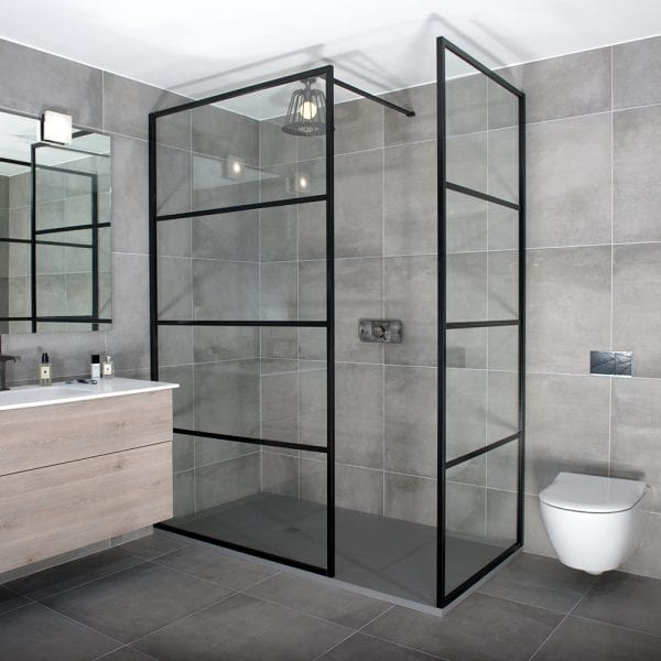 Drench Deco black framed shower screen with end return panel