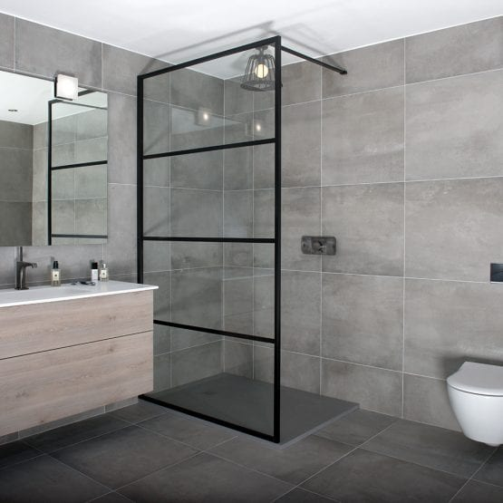 A black art deco style framed shower screen by Drench