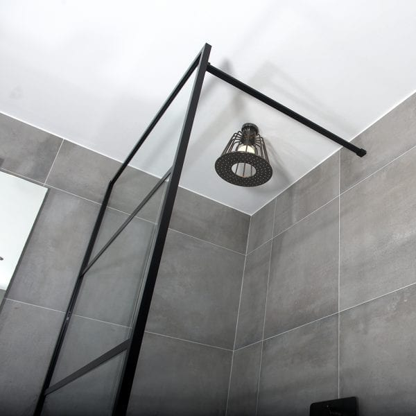 Bracing bar detail for a Drench Deco retro style framed coloured shower screen