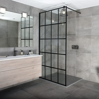 Drench Frame fixed designer walk-in shower screen with black grid pattern