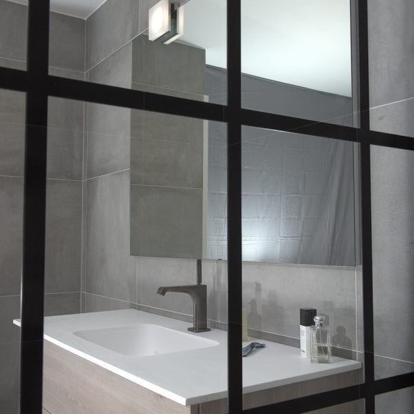 Drench FRAME black shower screens feature 8mm glass with horizontal and vertical glazing bars