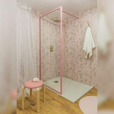 Drench Border minimalist shower screen with matt pink frame