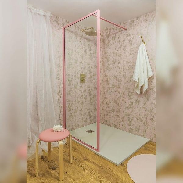 Drench Border minimalist shower screen with matt pink frame