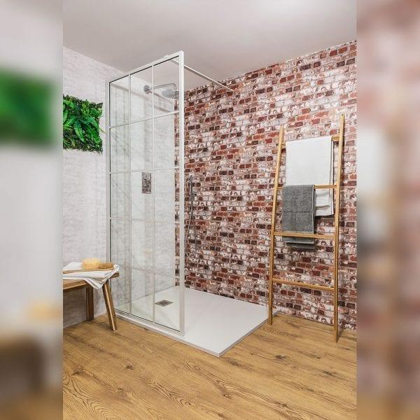Drench Matte Frame Lite shower screen in matt white painted finish